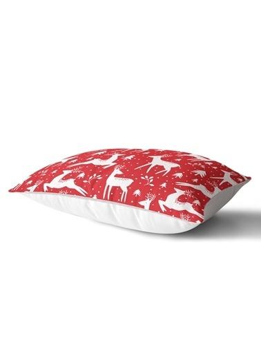 Real Homes Kırmızı Zeminde Beyaz Yılbaşı Geyikleri Tasarımlı Dikdörtgen Yastık Kırlent Kılıfı Renkli